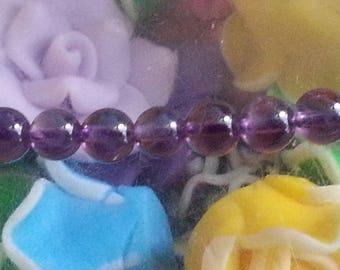 1 Pearl Amethyst 4mm in diameter, hole 1 mm