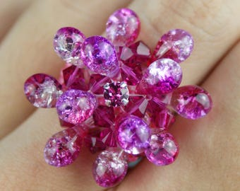 Pink swarovski crystal ring