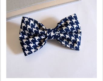 Bow tie and clip hair 2 in 1 foot of beige Navy Blue houndstooth