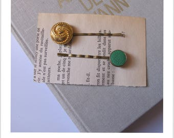 "Barrette, hair clip, vintage ""clip - me"" green and gold leather"