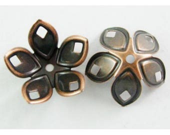 30 BEAD caps tab metal copper 18 mm - creation jewelry beads