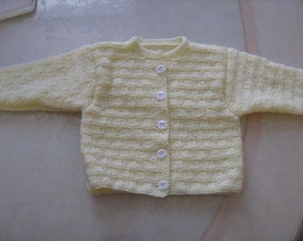 New hand knitted mixed pale yellow Cardigan
