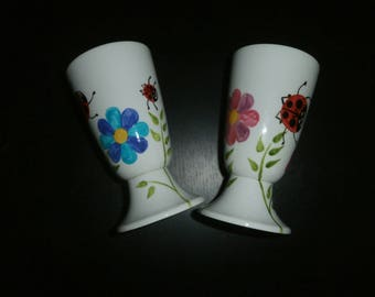 porcelain painted Ladybug garden multicolor pattern