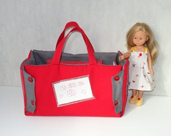 Bag-room for 33 cm (honey Corolla type) doll red and gray
