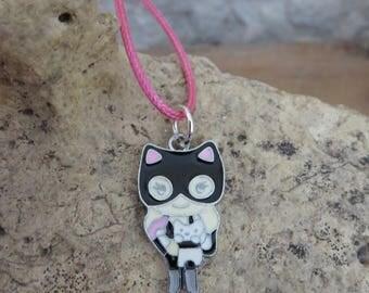 A masked superhero lace necklace
