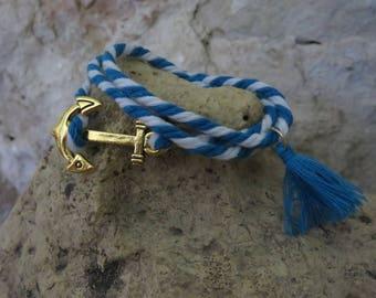Anchor bracelet Navy Blue and white