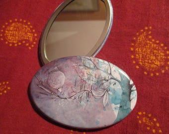 Illustrated oval mirror - dreamlike landscape