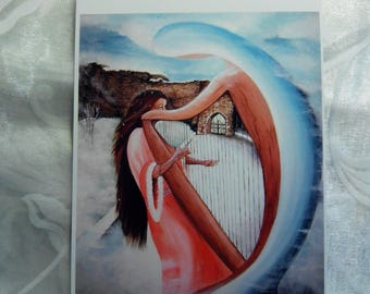 """"" Postcard, reproduction of a painting titled ""Mystic musician""."