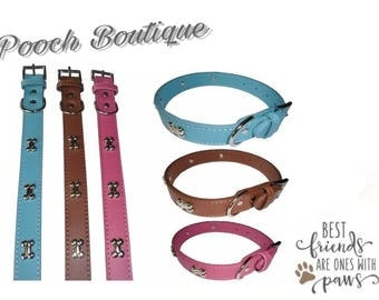 Bone Collar pink brown blue