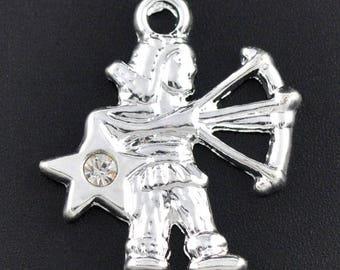 Pendants charms Zodiac / horoscope / Zodiac Astrology Sagittarius silver rhinestones