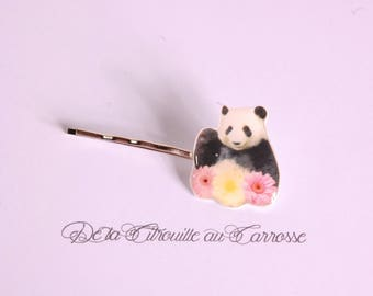 Kawaii panda hair clip, flowers
