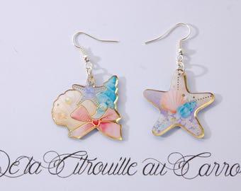 Nautical earrings, shell and starfish