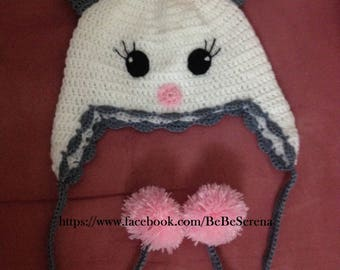 White kitten crochet shape Hat