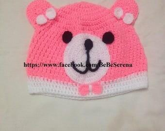 The small neon pink Teddy bear crochet Hat