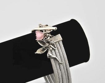 Silver deer and fairy bracelet