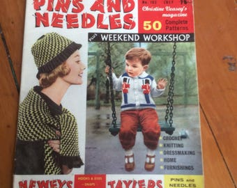 Pins and Needles 1961 fifty complete patterns. Unusual London knitting book.