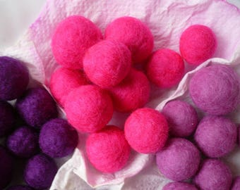 set of 10 neon pink felted wool beads