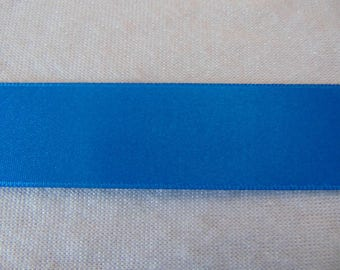 Blue double faced satin ribbon Gypsy, width 25 mm (S-236)