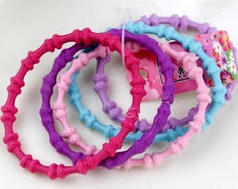 Rainbow multicolor hair elastics