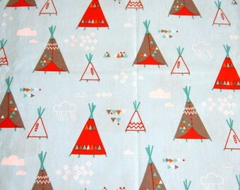 100% cotton fabric blue patterns tipis Indian clouds