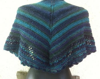 Shawl wool and polyamide ombre blue