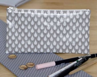 Beige gray drops patterned pencil case white