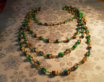 gorgeous 4 row stylish, handcrafted, original, colorful necklace multicolor