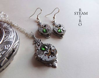 Steampunk jewelry set with green - Steampunk earrings and necklace set - Steampunk wedding