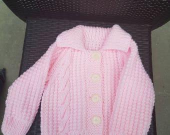 Hand knit baby cardigan in Aran wool 12 months