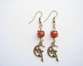Fairy on Moon Brown Pearl pendant earrings