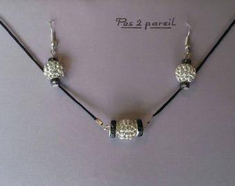 Set earrings and Choker necklace, rhinestone beads