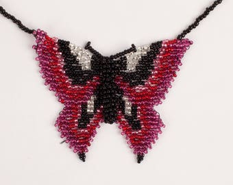 3D Cranberry Butterfly Beaded Necklace