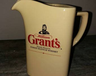 Vintage Grant's Whisky/Water Jug,Scotch Whisky, Ceramic Jug, Bar ware,William Grant's, Scotch Whisky