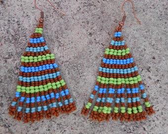 """Egyptian"" seed beads beaded earrings"