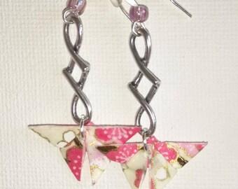 Pink origami butterfly earrings