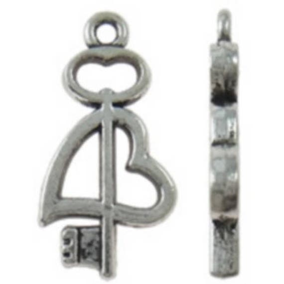 """Set of 5 color """"key"""" charm silver size 11.5 x 23 mm"""