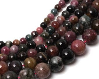 Tourmaline multicolored 6 x 15 mm round bead