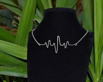 Necklace Silver 925/1000 collection cardiogram modern...