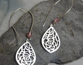 roses and crystal drop earrings