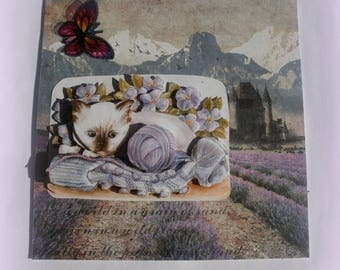 53 in a field of lavender cat greeting card