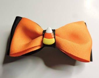 Black/Orange Candy Corn Bow