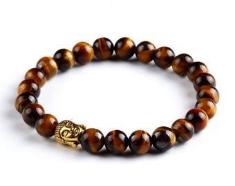 Beautiful mens bracelet Tiger eye stone beads