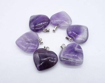 semi precious, Amethyst stone heart pendant