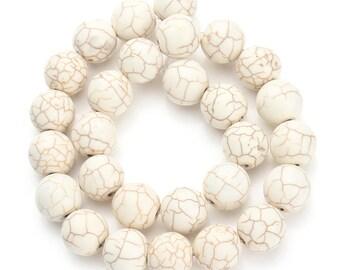 Stone 10 mm creamy white turquoise set of 10 beads