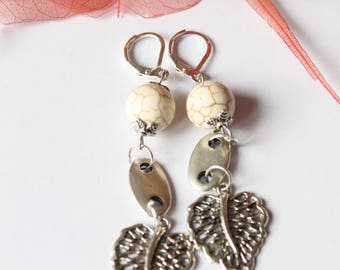 silver plated howlite stone earring