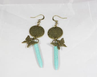 beautiful Stud Earrings turquoise and antique bronze 7.5 cm