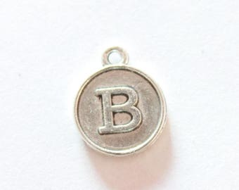 Silver metal charm, letter B, about 15 * 12 * 2 mm