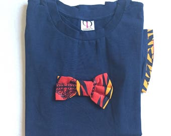 Shirt blue red/yellow bow