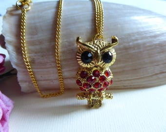 OWL pendant chain red rhinestone