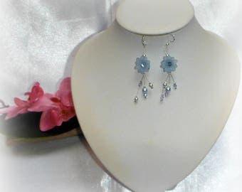 SÉGOLÈNE - Sky blue flower earrings